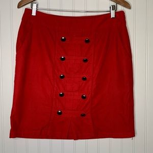 Odille Anthropologie red corduroy a-line skirt 10